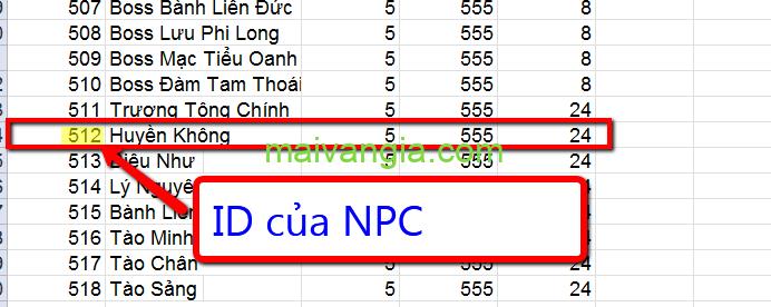 ID npc nhân vật võ lâm truyền kỳ offline